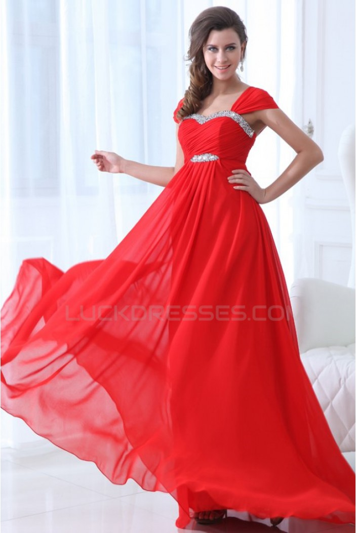Long Red Beaded Chiffon Prom Evening Formal Party Dresses/Maternity Evening Dresses ED010009