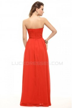 A-Line Strapless Long Beaded Chiffon Prom Evening Formal Party Dresses ED010010