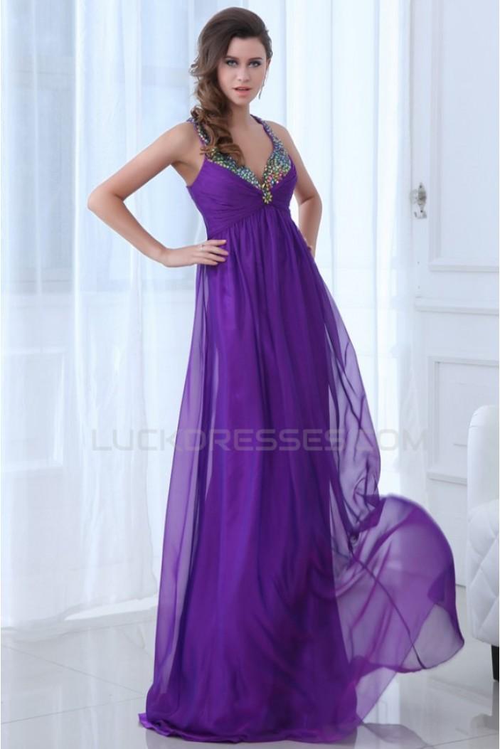 Long Purple Halter Beaded Chiffon Prom Evening Formal Party Dresses/Maternity Evening Dresses ED010012