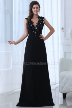 A-Line V-Neck Long Beaded Chiffon Prom Evening Formal Party Dresses ED010015