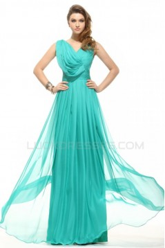 Sheath/Column Long Blue Beaded Chiffon Prom Evening Formal Party Dresses ED010016