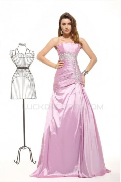 A-Line Strapless Long Pink Prom Evening Formal Party Dresses ED010019