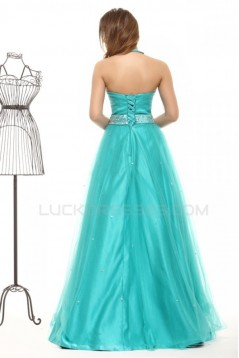 A-Line Halter Long Beaded Blue Prom Evening Formal Party Dresses ED010023