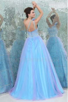 A-Line One-Shoulder Beaded Long Blue Prom Evening Formal Party Dresses ED010024