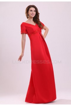 Long Red Short Sleeve Prom Evening Formal Party Dresses ED010026