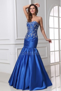 Trumpet/Mermaid Sweetheart Beaded Long Blue Prom Evening Formal Party Dresses ED010030