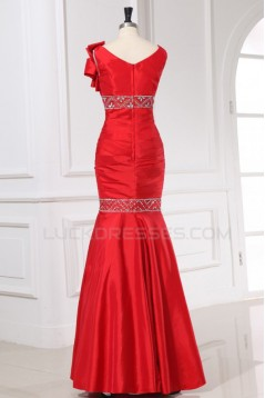 Trumpet/Mermaid Beaded Long Red Prom Evening Formal Party Dresses ED010031