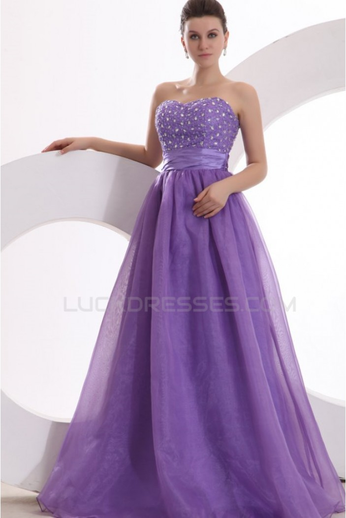 A-Line Strapless Beaded Long Purple Prom Evening Formal Party Dresses ED010035