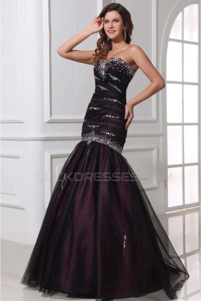 Trumpet/Mermaid Sweetheart Beaded Long Black Prom Evening Formal Party Dresses ED010036