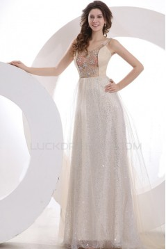 A-Line Beaded Long Prom Evening Formal Party Dresses ED010037