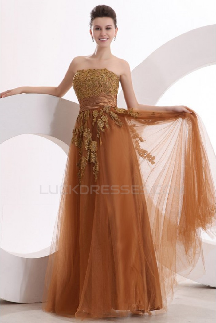 A-Line Strapless Long Tulle Prom Evening Formal Party Dresses ED010040