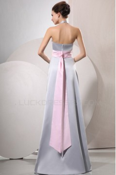 A-Line Halter Long Silver Prom Evening Formal Party Dresses/Bridesmaid Dresses ED010041