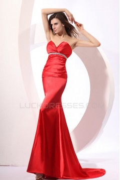 Trumpet/Mermaid Sweetheart Long Red Prom Evening Formal Party Dresses ED010043