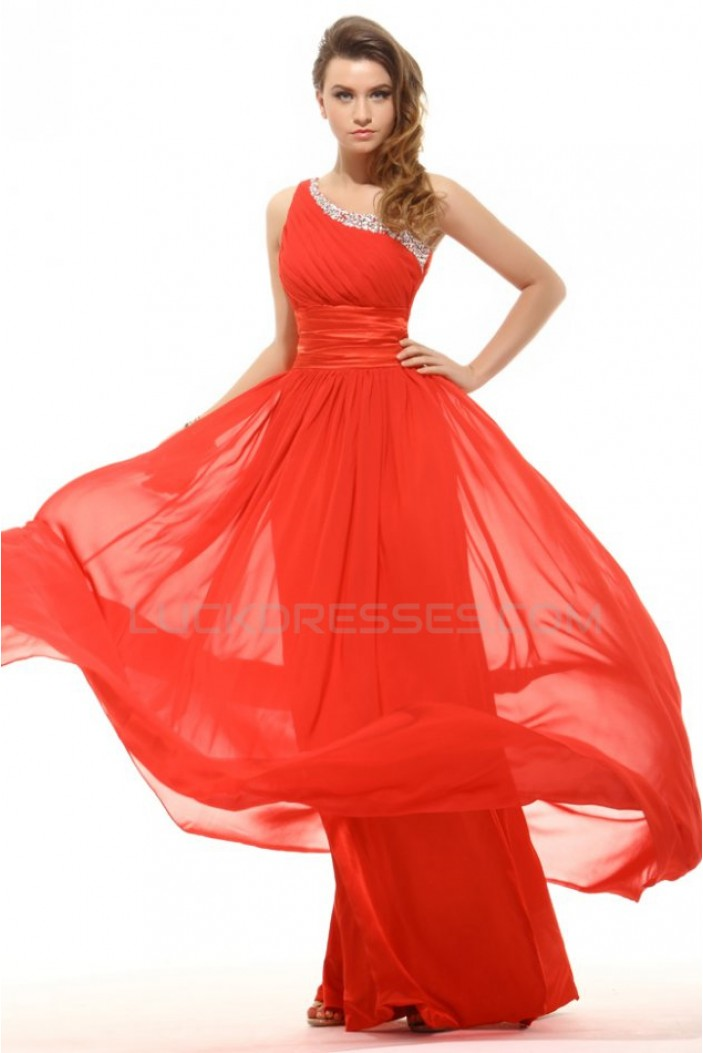A-Line One-Shoulder Long Beaded Chiffon Prom Evening Formal Party Dresses ED010046
