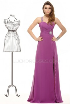 A-Line One-Shoulder Long Beaded Chiffon Prom Evening Formal Party Dresses ED010047