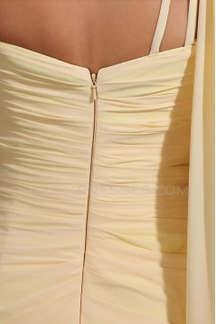 Long Yellow One-Shoulder Beaded Chiffon Prom Evening Formal Party Dresses ED010050