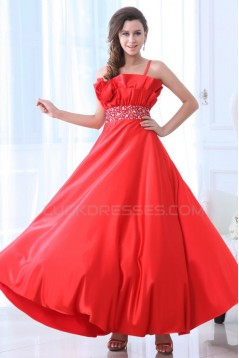 A-Line Spaghetti Strap Beaded Long Red Prom Evening Formal Party Dresses ED010051