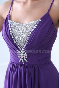 A-Line Spaghetti Strap Beaded Long Purple Prom Evening Formal Party Dresses ED010052