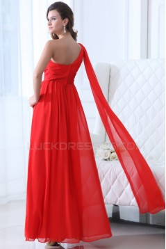 A-Line One-Shoulder Long Red Chiffon Prom Evening Formal Party Dresses ED010053