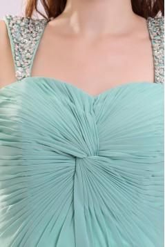 A-Line Beaded Straps Long Chiffon Prom Evening Formal Party Dresses ED010055