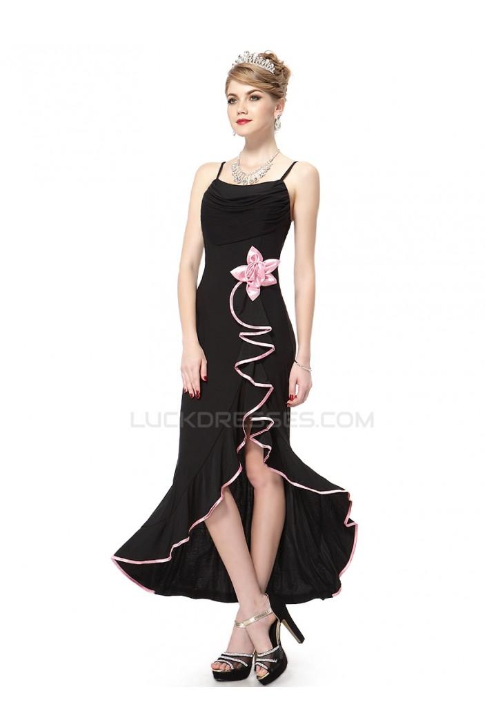 Long Black Spaghetti Strap Prom Evening Formal Party Dresses ED010056
