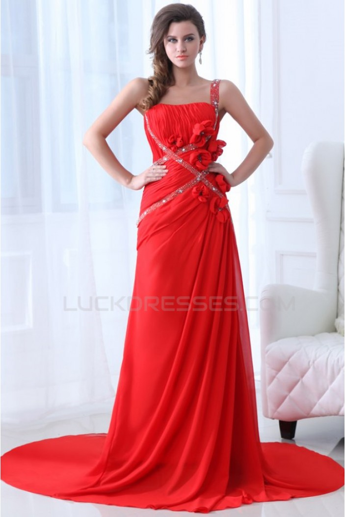 Sheath One-Shoulder Beaded Long Red Chiffon Prom Evening Formal Party Dresses ED010058