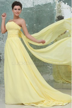 A-Line Strapless Beaded Long Yellow Chiffon Prom Evening Formal Party Dresses ED010061