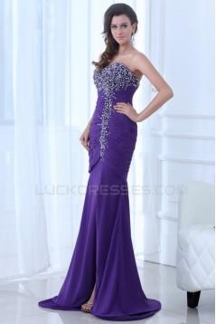 Trumpet/Mermaid Sweetheart Beaded Long Purple Chiffon Prom Evening Formal Party Dresses ED010062