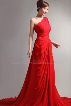 Long Red One-Shoulder Chiffon Prom Evening Formal Party Dresses ED010064