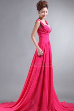 A-Line Beaded Long Pink Chiffon Prom Evening Formal Party Dresses ED010065