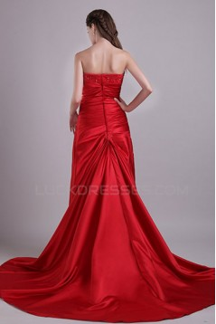 Sheath/Column Strapless Long Red Prom Evening Formal Party Dresses ED010067