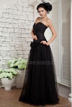 A-Line Sweetheart Long Black Prom Evening Formal Party Dresses ED010069