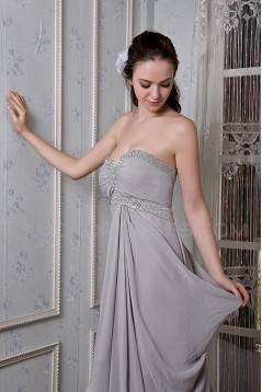 Long Silver Chiffon Prom Evening Formal Party Dresses/Maternity Evening Dresses ED010071