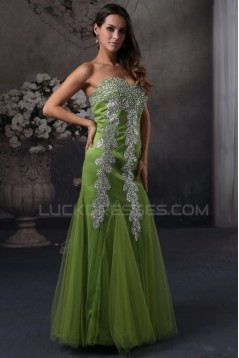Trumpet/Mermaid Sweetheart Beaded Green Long Prom Evening Formal Party Dresses ED010072