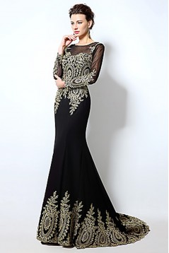 Formal Evening Dress Trumpet Mermaid Long Sleeves Brush Train Chiffon with Appliques ED010075