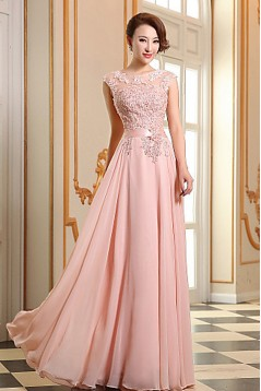 A-Line Beaded Applique Long Chiffon Prom Evening Formal Dresses ED010076