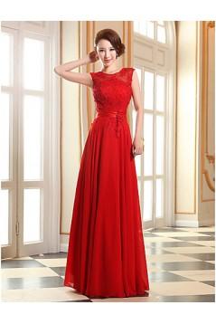 A-Line Beaded Applique Long Chiffon Prom Evening Formal Dresses ED010076