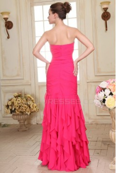 Trumpet/Mermaid Sweetheart Beaded Long Pink Chiffon Prom Evening Formal Party Dresses ED010077