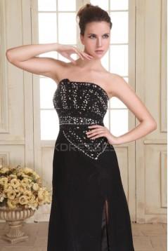 Long Black Chiffon Beaded Prom Evening Formal Party Dresses ED010078