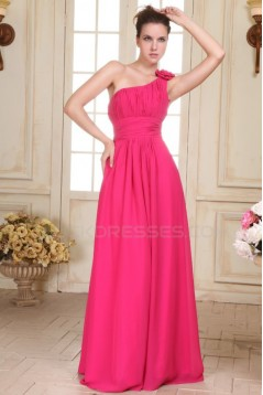 A-Line One-Shoulder Long Pink Chiffon Prom Evening Formal Party Dresses/Bridesmaid Dresses ED010079