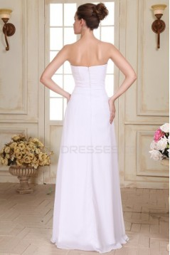 A-Line Long White Strapless Beaded Chiffon Prom Evening Formal Party Dresses ED010080