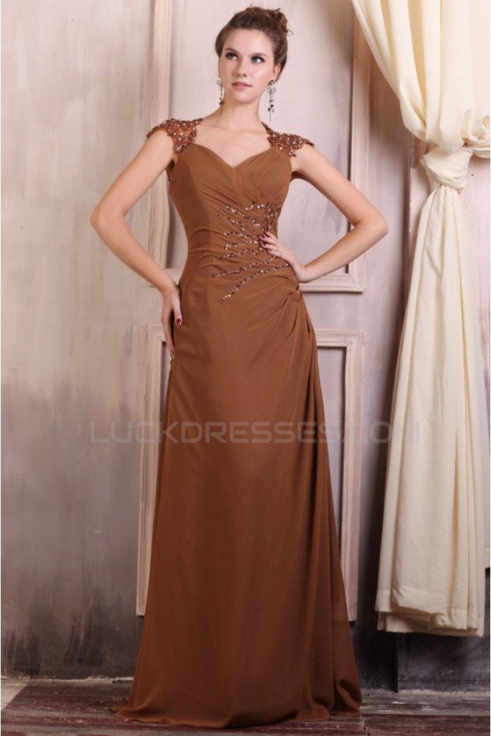 A-Line Beaded Applique Long Chiffon Prom Evening Formal Party Dresses/Mother Of The Bride Dresses ED010082