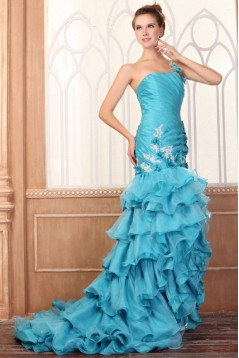 Trumpet/Mermaid One-Shoulder Long Blue Prom Evening Formal Party Dresses ED010083