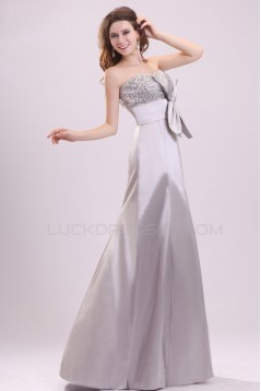 Long Silver Strapless Beaded Prom Evening Formal Party Dresses ED010089