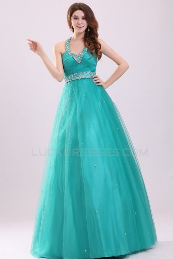 A-Line Halter Long Beaded Prom Evening Formal Party Dresses ED010095