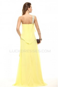 One-Shoulder Beaded Long Yellow Chiffon Prom Evening Formal Party Dresses ED010096