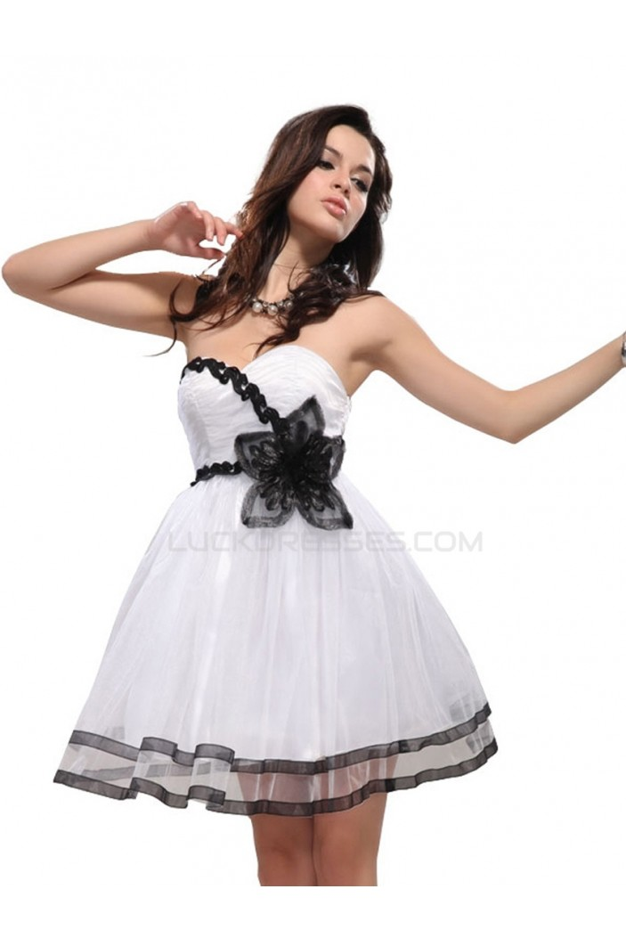 A-Line Sweetheart Short Black White Prom Evening Formal Party Dresses ED010097
