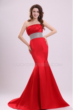 Trumpet/Mermaid Strapless Long Red Prom Evening Formal Party Dresses ED010100