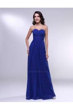 A-Line Sweetheart Beaded Long Blue Chiffon Prom Evening Formal Dresses ED011000