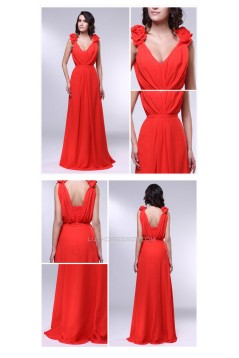 A-Line V-Neck Long Chiffon Prom Evening Formal Dresses ED011001